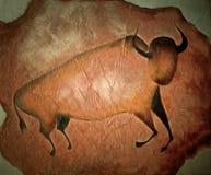 Bull любит картина пещеры - примитивное искусство иллюстрация вектора