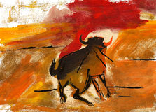 Bull. Illustration hand drawn: Bull artwork made with acryl and tempera color and some black ink royalty free illustration