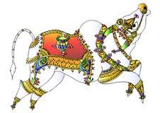 Bull. Illustration of indian art style bull drawing royalty free illustration