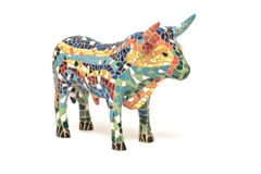 Bull. Spanish bull souvenir made of china, white background Royalty Free Stock Photos