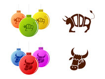 Bull 2009. Taurus - vector silhouettes and christmas-tree decorations Royalty Free Stock Photography