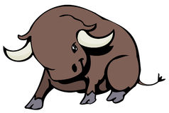 Bull. Comics style sturdy little bull Stock Photos
