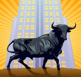 The Bull. The symbol of wall street over a building and sunburst royalty free illustration