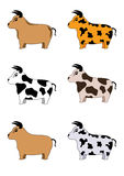 Bull. Six cute bulls cartoon illustration that can be used separately Royalty Free Stock Photo