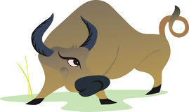 Bull. Illustration of a bull in anger about to hit Royalty Free Stock Photo