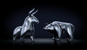 Bull против медведя Стоковые Изображения RF