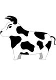 Bull. Cartoon illustration with cute funny bull, isolated Royalty Free Stock Images