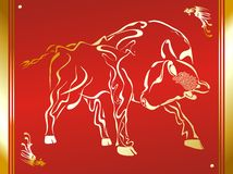Bull. East bull - hand drawing art Royalty Free Stock Image