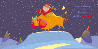 Bull. Santa Claus sits on a bull Stock Photos