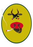 Bull. Symbol 2009. Funny bull portrait with cigarette stock illustration
