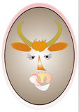 Bull. Symbol 2009. Funny bull with eyelashes and tongue vector illustration