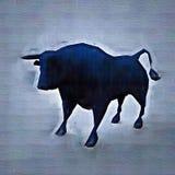 Bull abstrata Estilo do desenho Ilustração colorida de Digitas Fotografia de Stock Royalty Free
