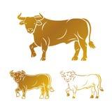 Bull ancient emblems elements set. Heraldic vector design elemen Royalty Free Stock Images
