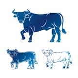 Bull ancient emblems elements set. Heraldic vector design elemen Stock Photo