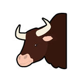 Bull animal farm pet character icon. Vector graphic Royalty Free Stock Images