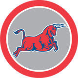 Bull Attacking Charging Circle Retro Royalty Free Stock Photo