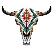 Bull / auroch skull with horns on white background. with traditional ornament on head Royalty Free Stock Photography