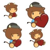 Bull baby cartoon heart set Royalty Free Stock Photos