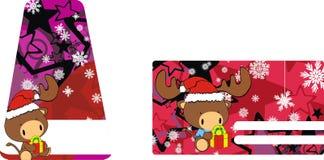 Bull baby claus cartoon xmas giftcard Royalty Free Stock Photos