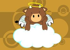 Bull baby cute angel cartoon background Stock Images