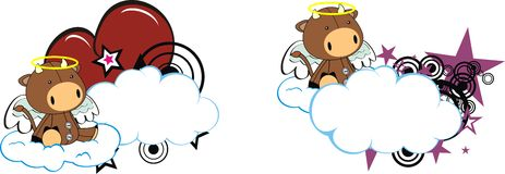 Bull baby cute angel cartoon cloud set Royalty Free Stock Photos