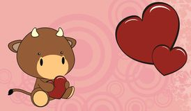 Bull baby love cartoon background Stock Photos