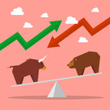 Bull and bear on balance scale Stock Image