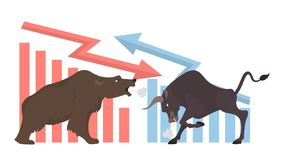 Bull and bear. Bull and bear concept illustration. Market exchanging, trading and business Royalty Free Stock Photography