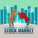 Bull Bear Business Stock Market Background Vector Royalty Free Stock Photography