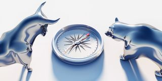 Bull and bear with compass stock illustration