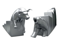 Bull And Bear Converge Metal Fish-Eye. Bull and bear economic trends statuettes approaching each other on an isolated background Royalty Free Stock Photo