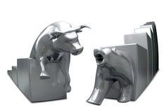Bull And Bear Converge Metal Fish-Eye Royalty Free Stock Photo