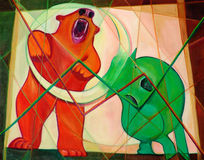Bull and Bear Cubism Royalty Free Stock Image