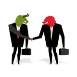 Bull and bear Deal. Animals businessmen make trade. Men shake ha. Nds. Contract between traders on stock exchange. Handshake Beasts in suit and briefcase vector illustration
