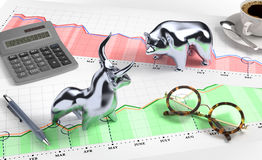Bull and Bear on Desktop Stock Market. Metallic statuettes of a bull and a bear, standing opposite each other on a desk. Illustration on the subject of Stock Royalty Free Stock Photo