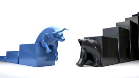 Bull & Bear Econonomic Trends Converge. The bull and bear economic trends approaching each other Stock Images