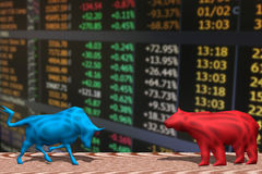 Bull and bear fighting and stock market index. A bull and a bear fighting and financial market index Stock Photo