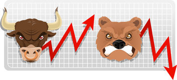 Bull and bear finance economy business chart Stock Photo