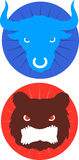 Bull and bear finance economy icons. Blue Bull & red bear icons  illustration Royalty Free Stock Photos