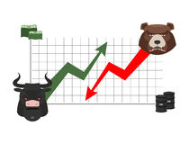 Bull and bear finance. Rise and fall of quotations. Players on E Royalty Free Stock Image