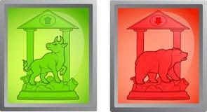 Bull and bear icon set. Cartoon bull and bear icon set Stock Photos