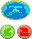 Bull and bear icon set. Silhouette bull and bear icon set Royalty Free Stock Photos