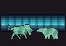 Bull and bear illustration Stock Photo