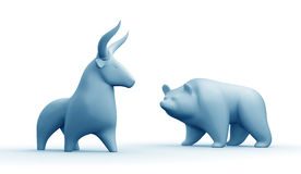 Bull And Bear Market. Clay statuettes of a bull and a bear as metaphoric stock market players. 3D rendered graphics on white background. Blue toned version Stock Photography
