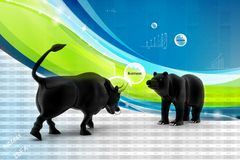 Bull and bear market Royalty Free Stock Images