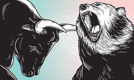 Bull and Bear Market Investment Business Icon Concept.  Stock Photos