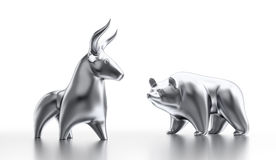 Bull And Bear Market. Metallic statuettes of a bull and a bear as metaphoric stock market players. 3D rendered graphics on white background Stock Photo