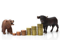 Bull and bear market Royalty Free Stock Image