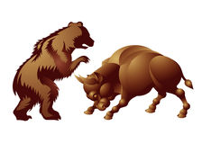 Bull, bear, market trend. The bull and bear, symbolic beasts of finance, market trend, investing, financial markets, technical analysis. Economic Animal,  Stock Royalty Free Stock Photos