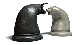 Bull And Bear Market Trend Chess Pieces Royalty Free Stock Image